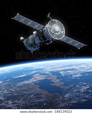 Spaceship Orbiting Earth. 3D Scene. Elements of this image furnished by NASA.  - stock photo