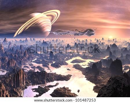 Spaceship Over Hostile Alien Terrain - stock photo