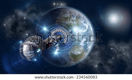 Spaceship with forming warp-drive, leaving Earth as a 3D concept for futuristic interstellar deep space travel for sci-fi backgrounds. Elements of this image furnished by NASA - stock photo