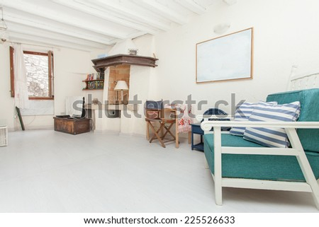 spacious and modern living room - stock photo