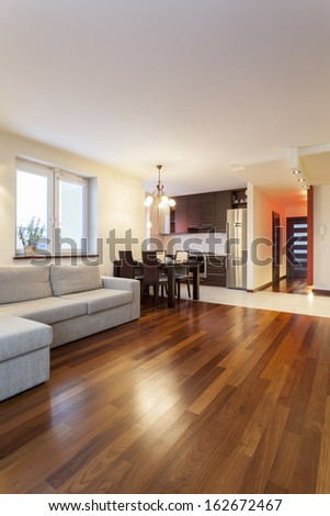 Spacious apartment - Interior of a new modern house - stock photo