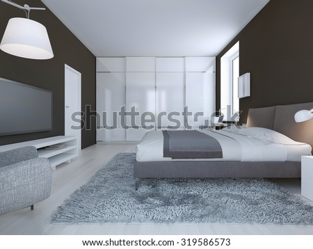 Spacious bedroom minimalist style. Dark brown walls, dressed double bed and large closet with sliding doors. 3D render - stock photo