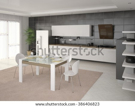 Spacious comfortable kitchen in a modern style, 3d rendering. - stock photo