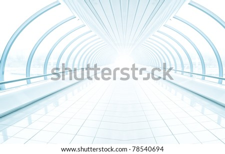spacious diminishing transparent hallway - stock photo