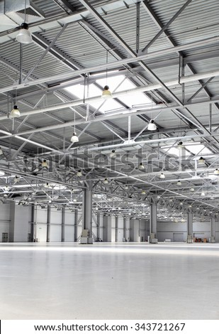Spacious empty storehouse - stock photo