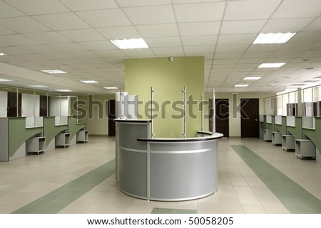 Spacious hall from a reception in the centre - stock photo