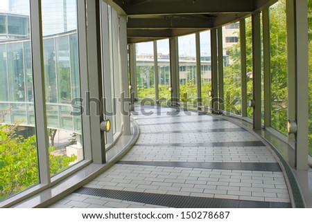 Spacious hallway in a public overpass - stock photo