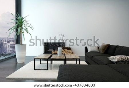 Spacious living room with modern furnishings and floor to ceiling window overlooking urban center. 3d Rendering. - stock photo