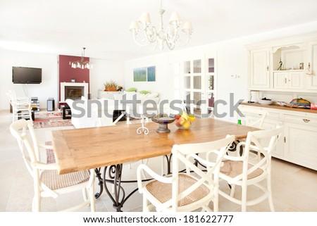 spacious livingroom in a modern leisure house - stock photo