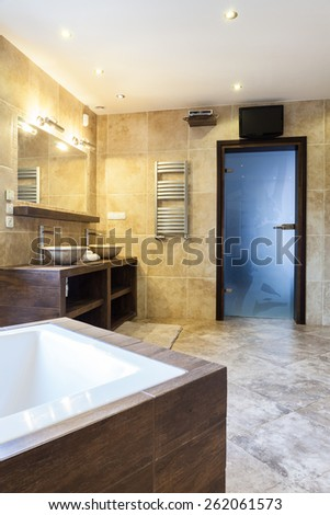 Spacious luxury bathroom with interior sauna - stock photo