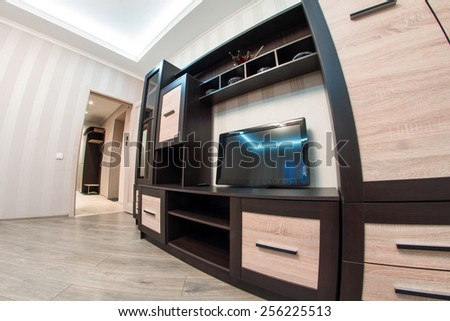 Spacious room with furniture, large closet and TV. Modern Style. Photo shot on fish-eye lens - stock photo