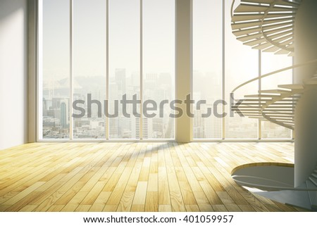 Spacious sunlit interior with tall windows, stairs and wooden floor. 3D Rendering - stock photo