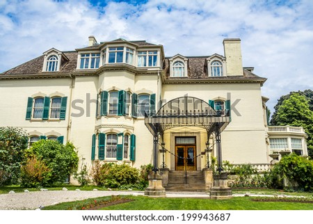 Spadina House Toronto. The facade of the Toronto landmark Spadina House Museum. - stock photo