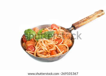 spaghetti a bolognese with meat balls isolated on the white - stock photo