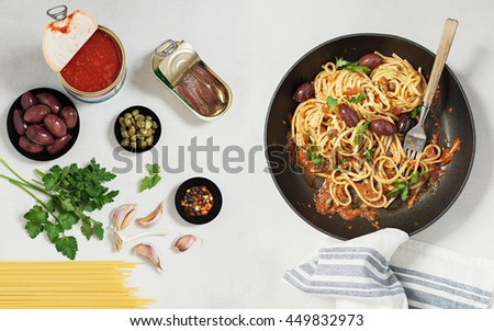 Spaghetti alla Puttanesca. The Ingredients and the Dish. - stock photo