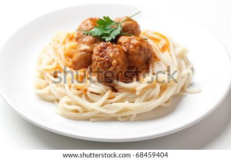 Spaghetti and meat balls - stock photo