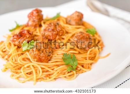 spaghetti and meatballs - italian food - stock photo