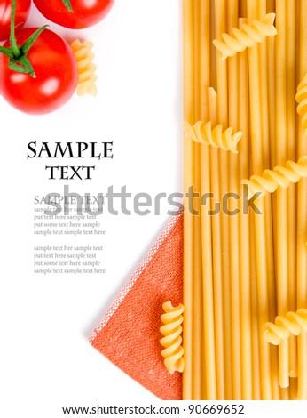 spaghetti and tomatoes on white background - stock photo