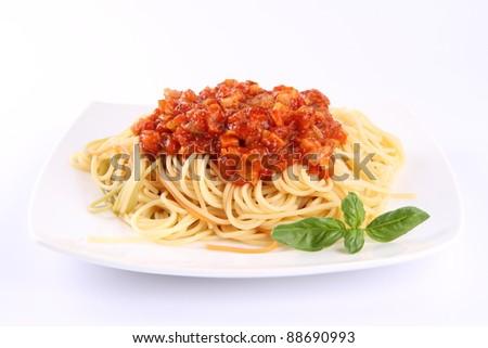 Spaghetti bolognese on a plate - stock photo