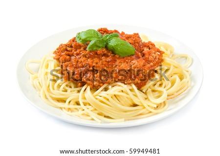 Spaghetti bolognese on white - stock photo