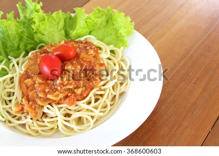 Spaghetti bolognese pasta with tomato sauce and minced meat - stock photo