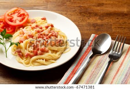 spaghetti carbonara - stock photo