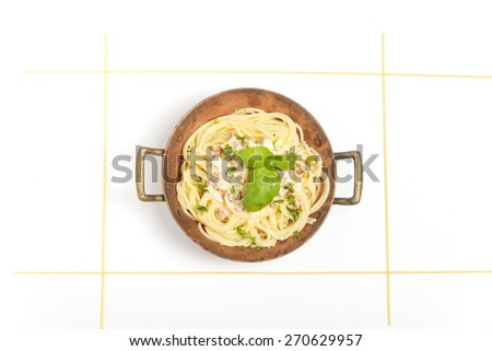 spaghetti carbonara overview - stock photo