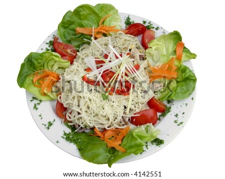 spaghetti carbonare whith vegetables on white plate - stock photo