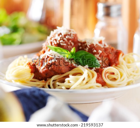 spaghetti dinner shot with selective focus - stock photo