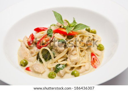 spaghetti Green curry - stock photo