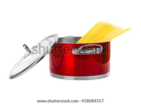 Spaghetti in pan isolated on white background - stock photo