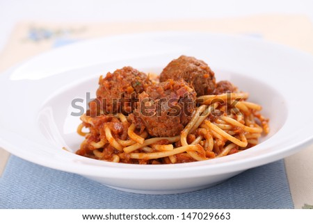 Spaghetti Meatballs  - stock photo