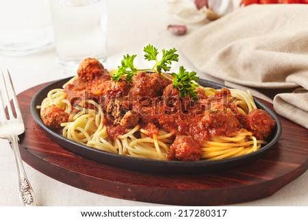 spaghetti meatballs - stock photo