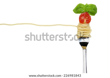 Spaghetti noodles pasta meal on a fork isolated with copy space - stock photo