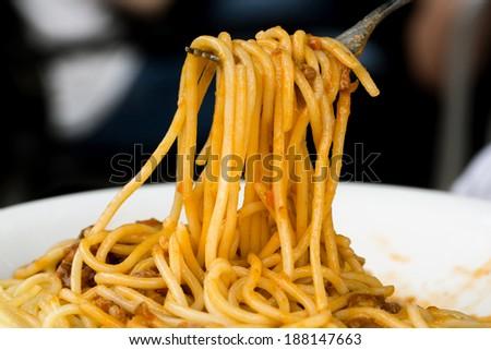Spaghetti on fork - stock photo