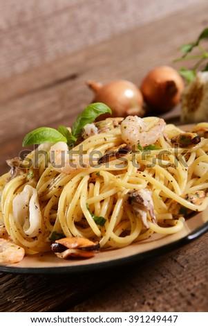 Spaghetti pasta with seafood - stock photo