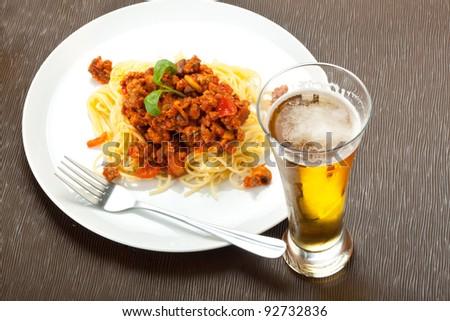 Spaghetti pasta with tomato beef sauce - stock photo