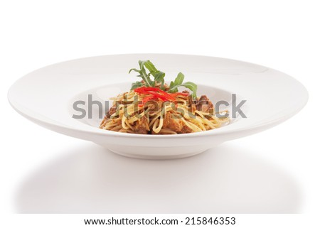 spaghetti pork curry isolated on white. - stock photo