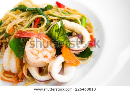 Spaghetti seafood spicy thai style - stock photo