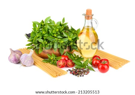 Spaghetti, vegetables, green basil, olive oil and spices on white background - stock photo