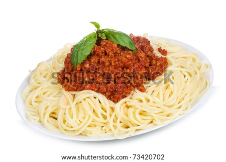 spaghetti with meat sauce on white background - stock photo