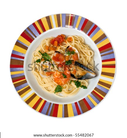 Spaghetti with mussels - stock photo
