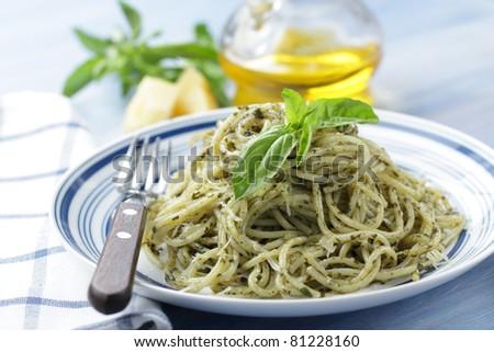 Spaghetti with pesto - stock photo