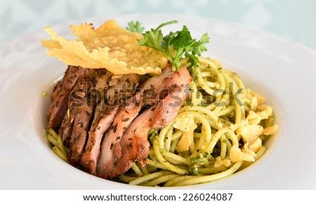 Spaghetti with Roast Pork - stock photo