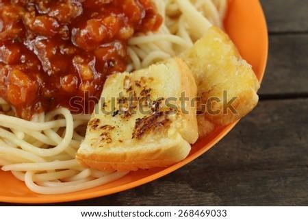 Spaghetti with sauce - stock photo