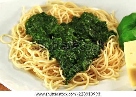 Spaghetti with Spinach classic   - stock photo