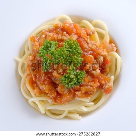 spaghetti with tomato beef sauce - stock photo