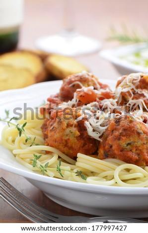 Spaghetti with turkey meatballs - stock photo