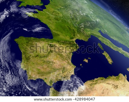 Spain and Portugal with surrounding region as seen from Earth's orbit in space. 3D illustration with detailed planet surface and clouds in the atmosphere. Elements of this image furnished by NASA. - stock photo