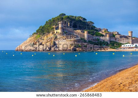 Spain, Catalonia, Tossa de Mar, ancient fortress Vila Vella - stock photo
